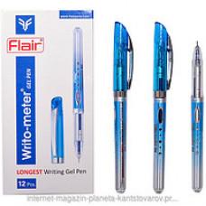 Ручка гелева, 0,5мм.  «Writo-meter Gel» Flair, 747 колір прозорий, без гумового грипу, чорнила сині