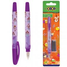Ручка пір`яна +2 катриджа  корпус рожевий  ZB2243 пише синім в упаковці