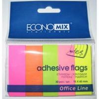 Стікер - закладки паперові 15*45мм 5*30арк кольор неон асорті E20935