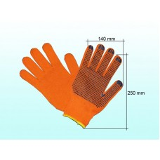Рукавички трикотажні з крапкою ПВХ  помаранч.