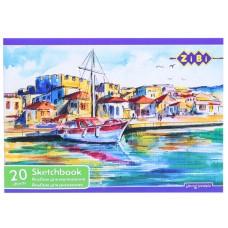 Альбом для малювання 20 аркушів А4 на скобе 100г/м2  ZB1423