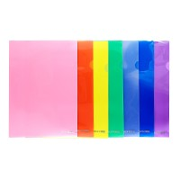 Папка-куточок А4, пластикова, прозора E31153 колір асорті
