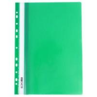 Швидкозшивач пластиковий, з прозорим верхом А4  глянець, з перфорац, E31510-04 зелений