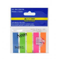 Стікер - закладки пластикові 12*45мм 5*25арк кольор неон асорті  BM2301-98