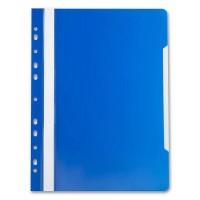 Швидкозшивач пластиковий, з прозорим верхом А4  глянець, з перфорац, E31510 ,синій