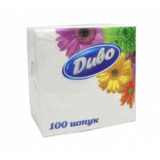 Серветки паперові 1-шарові 24*24 см в упаковці 100 шт колір білий Диво