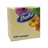 Серветки паперові 1-шарові 24*24 см в упаковці 100 шт колір жовті Диво