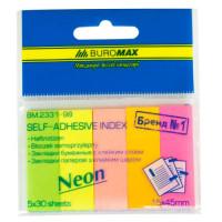 Стікер - закладки паперові 15*45мм 5*30арк кольор неон асорті 2331-98