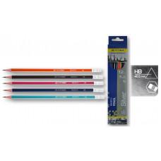 Олівець графітовий НВ, трикутний, асорті, з гумкою, карт. коробка