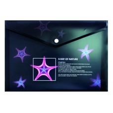 Конверт пластиковий А4 з кнопкою не прозорий колір асорті 180мкм Optima X-RAY 35208